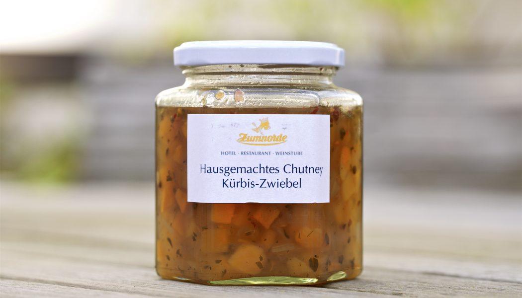 hausgemachtes Chutney Kürbis-Zwiebel